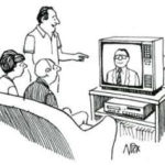 A man introducing his newly-bought television to his friends. A smiling gentleman in a suit is on the screen.