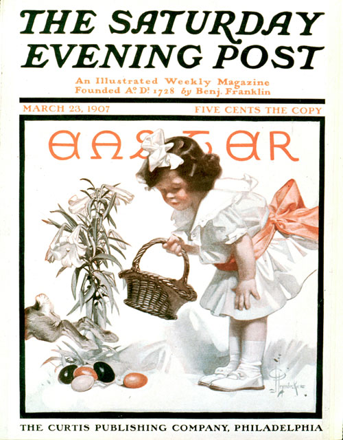 The Easter bunny is barely out of the picture (literally) when along comes this adorable little girl in her Easter finery hunting colored eggs. Spring flowers, bunnies and Easter treats – what more can we want? Well, maybe a little help with the hunt, as our next illustration shows.