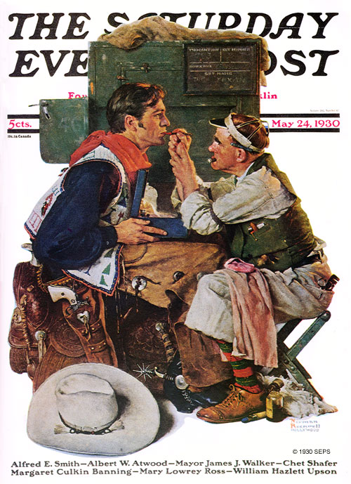 "Gary Cooper as ""The Texan"" by Norman Rockwell, May 24, 1930"