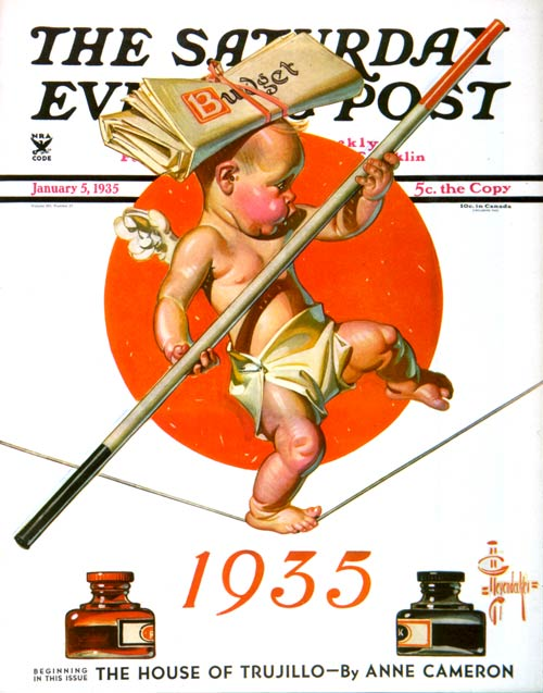 Baby New Year Balances the BudgetJC LeyendeckerJanuary 5, 1935