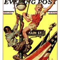 J.C. Leyendecker Parade View from Lamp Post 1937