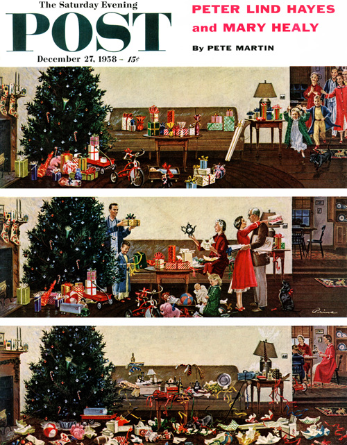 This is your house, right? Not the top panel in the 1958 cover, with the kids running to open their gifts (that was yesterday). Not the middle panel, where everyone is enjoying the process (ditto). Admit it, your house looks like the bottom panel with gifts, wrapping paper, and ribbons strewn everywhere. The sound of reindeer hooves on the rooftop is a distant memory. This cover by artist Ben Prins sums it up: It's all over but the clean-up.