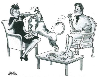 """Just tell him you don't care for dead squirrels, Mrs. Goulard."" from December 18, 1943"
