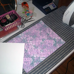 fabric on ironing board
