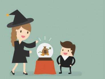 A witch looks into her crystal ball and shows her son financial futures