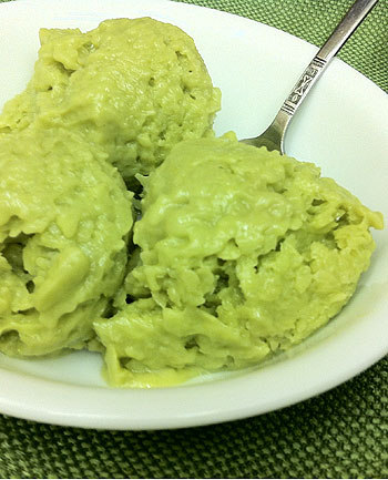 bowl of avocado ice cream