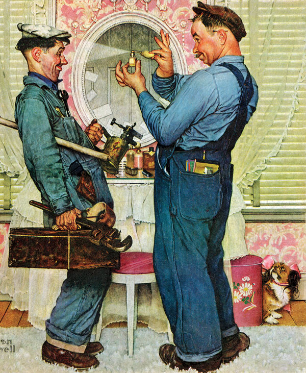 Rockwell knew Post readers would empathize with this pair of plumbers rather than with the uppity owner of the fancy boudoir.  He hired two actual plumbers as models and asked them to bring their tools along.