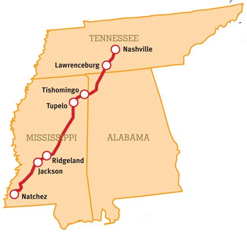 The Natchez Trace Parkway runs north from Natchez, Mississippi to Nashville, Tennessee.