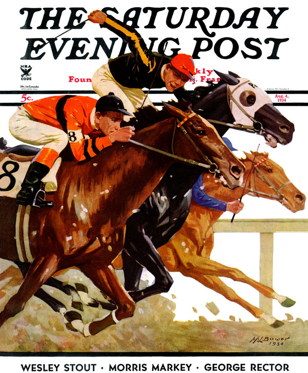 "Title: ""Thoroughbred Race ""; Published: April 4, 1934; © 1934 SEPS;"