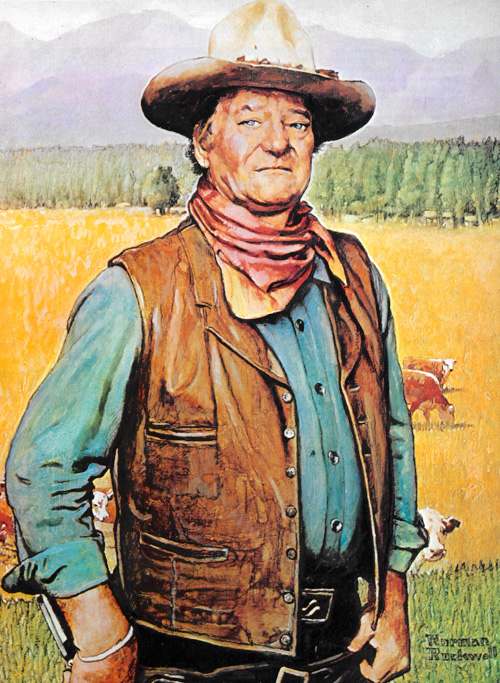 John Wayne, illustrated by Norman Rockwell