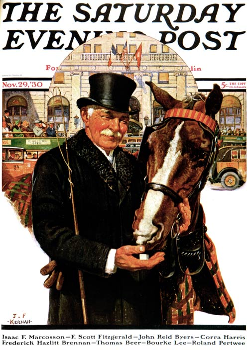 A Coachman pets his horse in the city street.