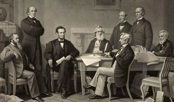 Lincoln and his cabinet, as they were seated at his reading of the Proclamation.