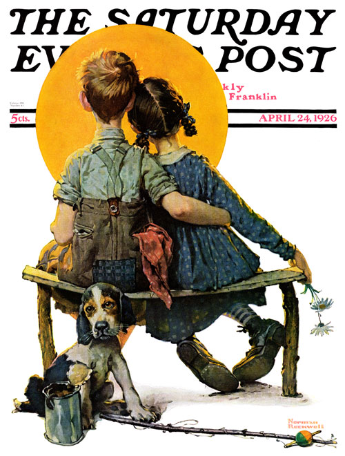 Little Spooners by Norman Rockwell