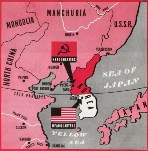 Map of Korea during the Korean War. Shows the U.S.A's and U.S.S.R.'s zones of influence on both sides of the 38th parallel.