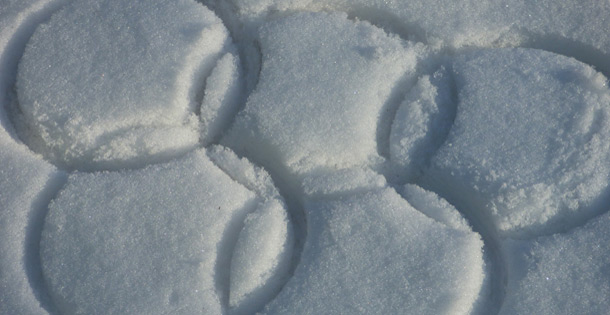 Olympic Rings drawn in the snow