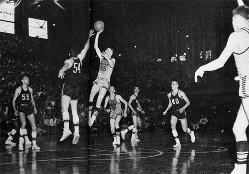Milan High School coach Marvin Wood had Bob Plump (no. 25) hold the ball for more than 4 minutes before uncorking the jump shot that won the state championship. (Photo courtesy of W. M. Krider/Lawenceburg, Jr.)