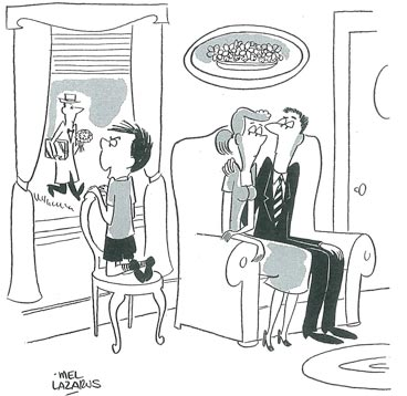 second date coming to the door. cartoon
