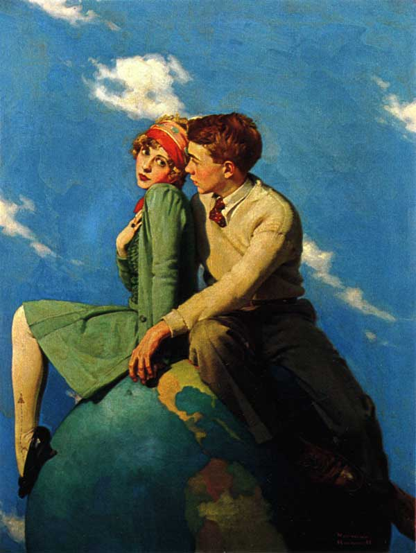 Young lovers sitting on globe