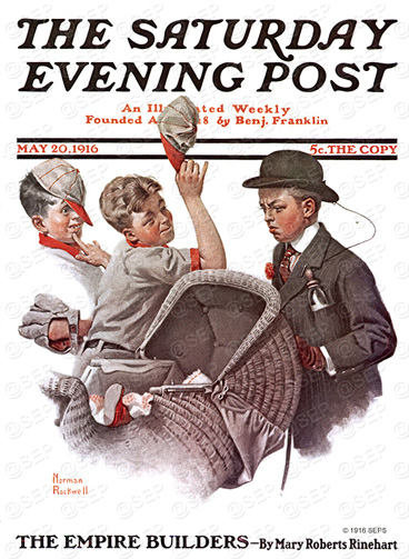 Norman Rockwell cover from May 20, 1916. Brother and baby carraige.