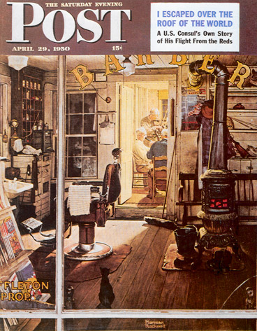 Shuffleton's Barbershop Norman Rockwell April 29, 1950