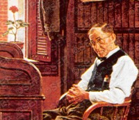 "Close-up of elderly clerk from ""The Marriage License"" Norman Rockwell June 11, 1955"