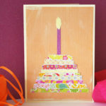 birthday card with paper cake on front
