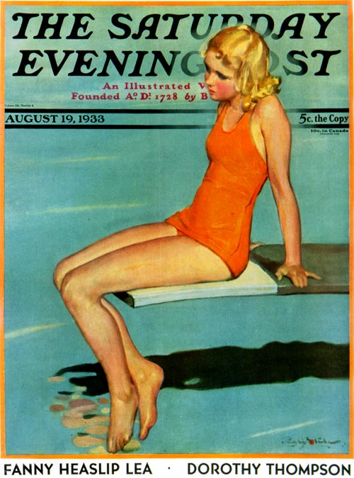 A young woman sits on a diving board.