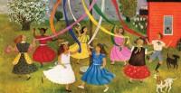 Children dancing around maypole in schoolyard