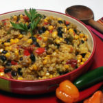 beans and rice with tomatoes, corn, and peppers