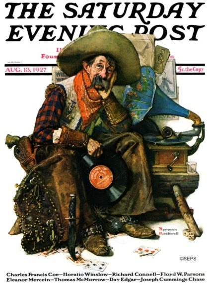 Cowboy listening to phonograph