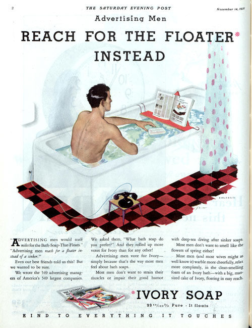 Man reads in a bathtub