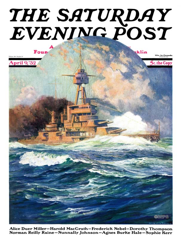 A cover illustration Anton Otto Fischer made for The Saturday Evening Post. It depicts an early 20th century battleship at sea.