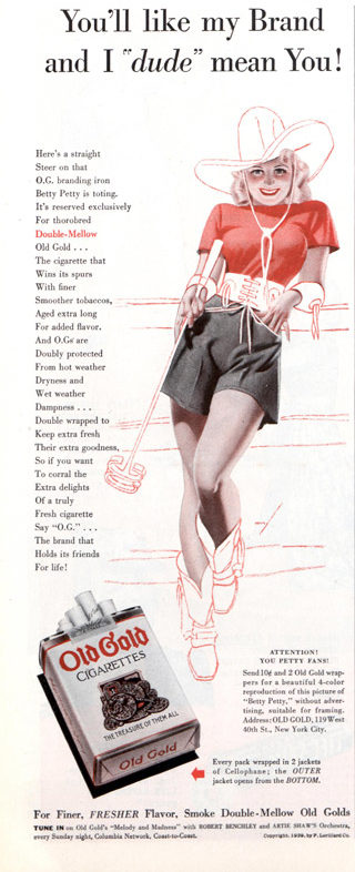 A young women in a cowboy hat, boots, and skirt in a cigarette ad