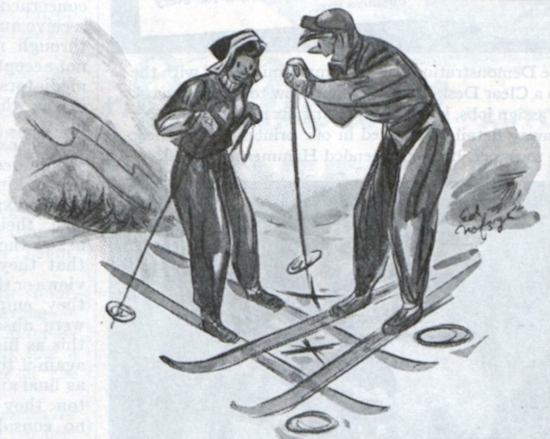 A couple speaking to eachother on skis.