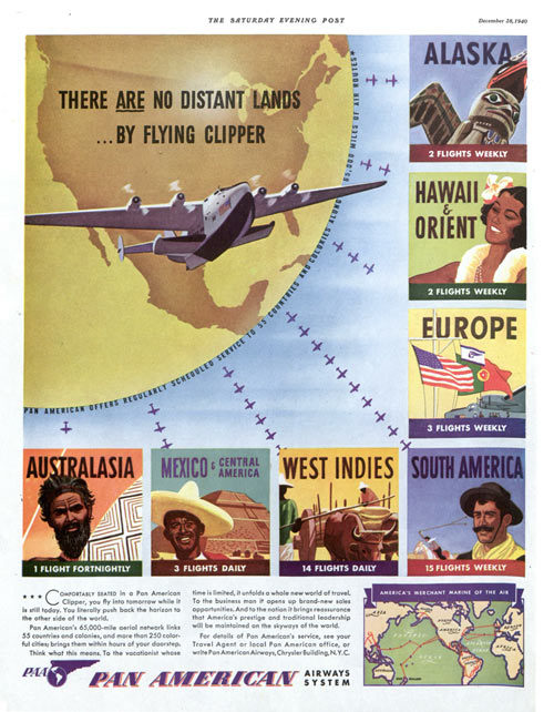 Magazine advertisement for Pan American airlines
