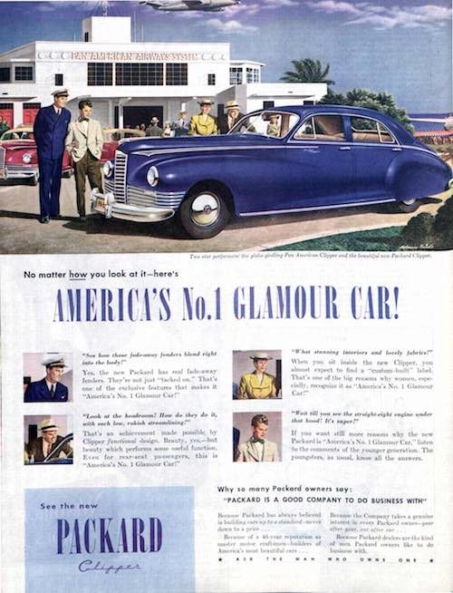 An ad for the Packard Clipper car. The car is in front of a beach house with affluent people nearby admiring it.