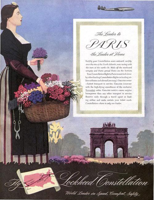 A Lockheed ad featuring a woman holding a flower basket near the Brandenburg Gate