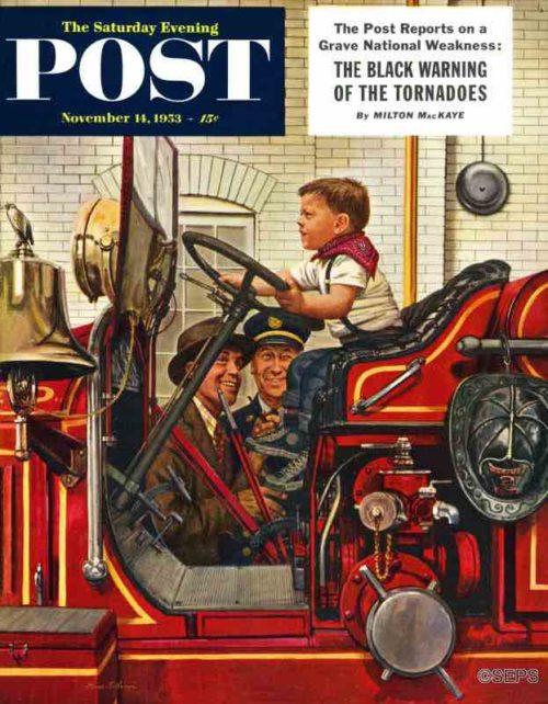 Boy on a firetruck