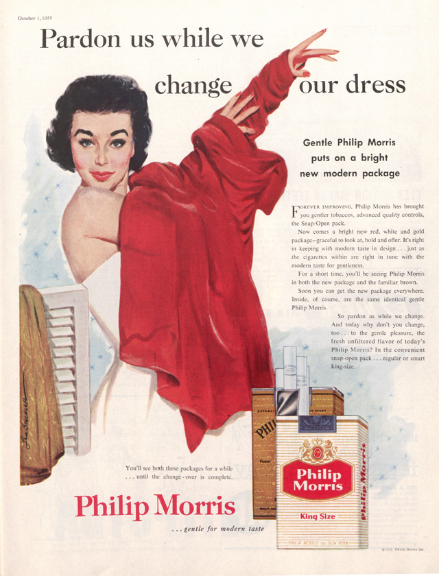 Woman putting on a red coat, in an ad for Philip Morris cigarettes