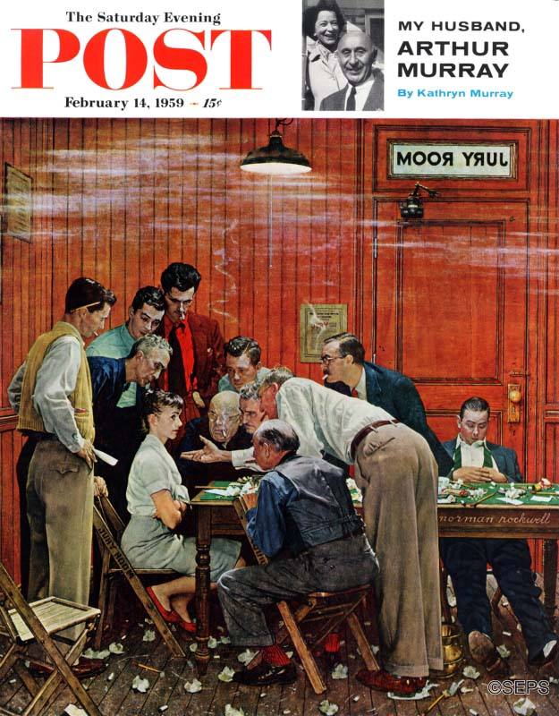 In Norman Rockwell's cover, a lone woman juror sits firmly in a smoke filled jury room as the 11 others, all men, try to convince her to change her vote.