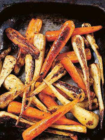 Sticky Cumin and Apricot Roasted Carrots
