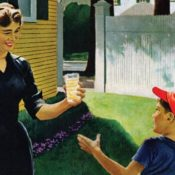 A mother handing her son a glass of lemonade