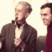 Joseph Csatari and Norman Rockwell in Rockwell's art studio