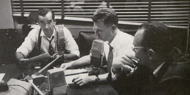 Edward R. Murrow, Dick Hottelot, and the announcer, Dixon