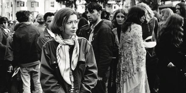 Joan Didion in a crowd