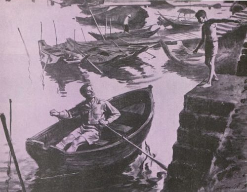 Man in a boat speaking to a figure on the river bank