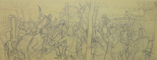 Mass of people sketch