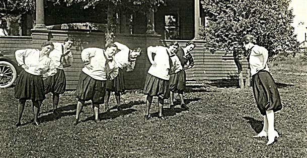 Women exercising in bloomers.
