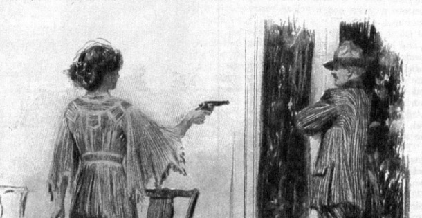 A woman pointing a gun at a man by the window