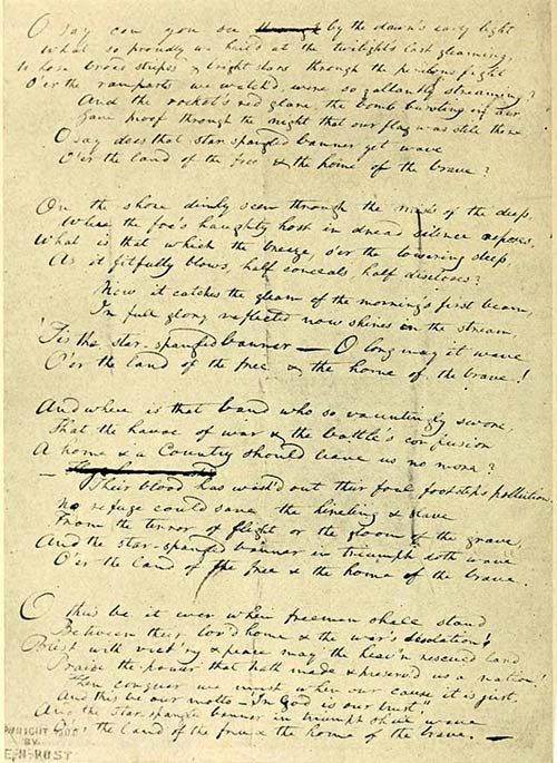 The original manuscript by Francis Scott Key